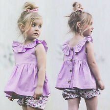 Baby Toddler Kid Girl Sleeveless Ruffle Top Summer Party Pageant Tutu Dress 1-4T