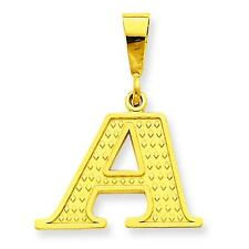 14K Yellow Gold Initial Charm Letter Pendant Jewelry