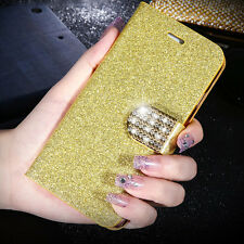 NEW Bling Diamond Leather Flip Card Wallet Case Stand Cover For iPhone Samsung