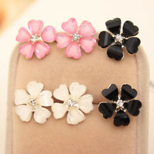 Beautiful Girl Flower Earrings Silver Plated Crystal Rhinestone Ear Stud Earring