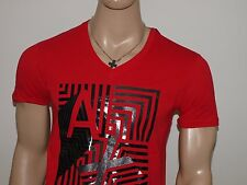 Armani Exchange Authentic Metallic Mix Logo V Neck T Shirt Cardinal Red NWT