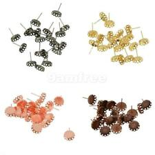Wholesale Lots 20pcs Silver Bronze Tone Cabochon Setting Earring Post (Fit 10mm)