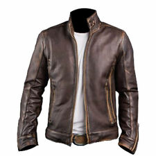 Men's Cafe Racer Stylish Biker Brown Distressed Leather Jacket (All Sizes)