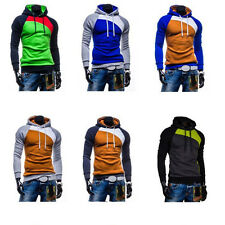 1Pcs Sweatshirt  Hooded  Mens Fight Color Cotton Tops Outwear  Leisure  Warm
