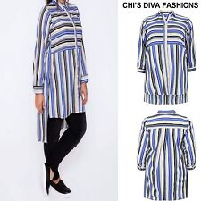 YOURS CLOTHING Striped Longline Dip Hem Shirt,Top With Splits Sizes 16 - 18/20