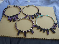 Purple or Pink Dyed Agate Slab Necklaces with Other Semi Precious Beads
