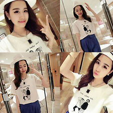 Cartoon man Korean version Printing T-shirt 1X Blouse Loose round neck Summer