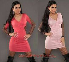 Womens Knit Mini Dress Shimmer Fishnet Party Sexy Club Wear Size 8-10 Pink Coral