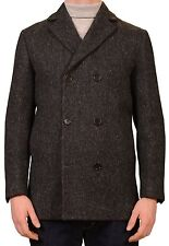 KITON Napoli CIPA 1960 Dark Gray Wool Tweed DB Pea Coat Jacket NEW Slim