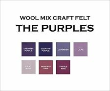 9 x 9 Inch Wool Mix Craft Felt Squares - Purples - 2 Pieces a Lot