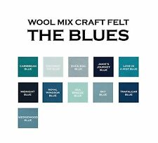 9 x 9 Inch Wool Mix Craft Felt Squares - Blues - 2 Pieces a Lot