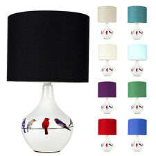 Modern Decorative Birds Butterflies Pattern Vintage Quirky Ceramic Table Lamp
