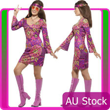 Womens Woodstock Hippie Chick Costume 60s Groovy 70s Hippy Disco Fancy Dress