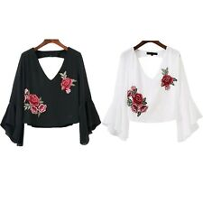 New Casual Chiffon Blouse Fashion Short Ruffle Blouse V Neck Summer Embroidery
