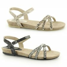 Ladies Womens Summer Snake Imitation Leather Lined Casual Diamante Flat Sandals