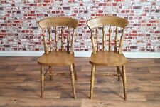 Four Farmhouse Dining Chairs Beech Rustic Spindle Back