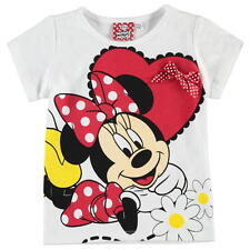 Girls Kids Official Disney Minnie Mouse Short Sleeve T Shirt Top