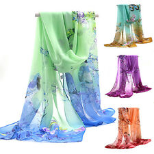 Women Lady Medium Long Chiffon Stole Scrawl Flower Printed Wrap Soft Scarf Witty