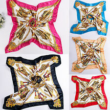 90 x 90cm Square Women Imitated Silk Satin Carriage Chain Neck Scarf Shawl Witty