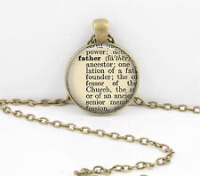 Father Gift Dictionary Word Pendant Necklace Jewelry or Key Ring