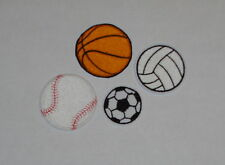 """""""Sports"""" Iron-On Embroidered Patches- Basketball, Soccer, Baseball, Volleyball"""