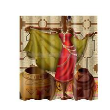 Fabric Polyester Figure Design Bath Shower Curtain Set with Curtain Hooks