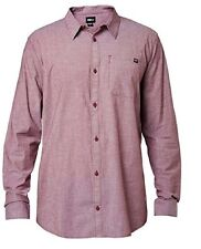 Mens Fox Drips L/S Woven Button Up Burgandy
