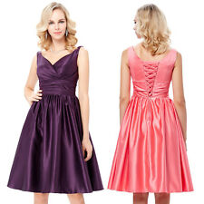 Bridesmaid Short V-Neck Satin Gown Ball Evening Prom Party Dress Size US 2~16