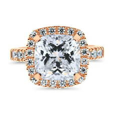 BERRICLE Rose Gold Over Sterling Silver Cushion CZ Halo Right Hand Cocktail Ring