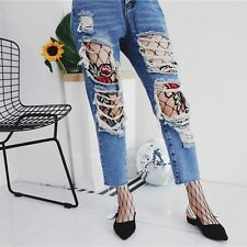 Sexy Women Flower Embroidery Patch Hollow Fishnet Pantyhose Mesh Net Tights