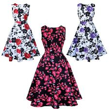 Fashion Women's Vintage 50's 60's Floral Printed Rockabilly Swing Cocktail Dress