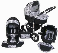 Pram Stroller Pushchair 3in1 ORION + FREE Car seat Frame WHITE - 22 colours
