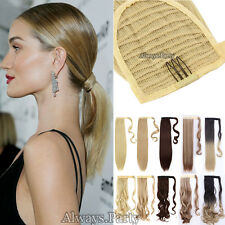 US Lady Clip In Ponytail Pony Tail Hair Extension Wrap On Fake Hair Piece THICK