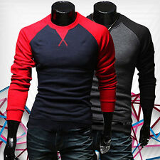 Mens Fashion Slim Fit T-shirt Crew-neck Long Sleeve Patchwork Tee Tops Cheaply