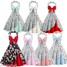 Womens 1950s 60s Vintage Floral Style Rockabilly Cocktail Party Swing Tea Dress