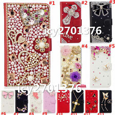 Crystal Bling Luxury Diamonds PU Leather wallet flip Slots Magnetic Cover Case X