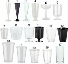 Disposable Glasses, Plastic Cocktail, Champagne, Wine, Shot, Half Pint, Tumbler