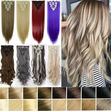 8PCS 18Clips Real Long Natural as Human Clip In Hair Extensions Brown Blonde AS8