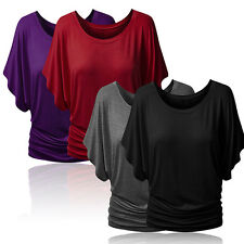 Women's Boat Neck Dolman Tops Elbow Sleeve Off Shoulder Tee Blouse T-Shirt Witty