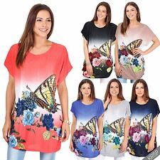 Womens Ladies Oversized Short Sleeve Butterfly Tunic Top Summer T Shirt Blouse