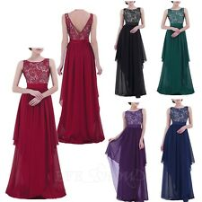 Elegant Women Evening Party Lace Chiffon Dress Party Prom Brides Long Maxi Dress