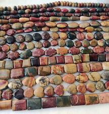 "15"" nature gemstone Picasso Jasper stone jewelry marking Loose beads USA BY USA"