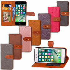 Luxury Embossed Leather Buckle Card Slot Wallet Stand Cover Case For iPhone M