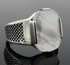 .925 Sterling Silver Mother of Pearl Elegant Men's Ring K41V-Best Gift for Him