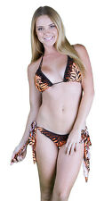 NEW Sexy Women Two Piece Bikini Bathing Suit Tie Side Scrunch Butt Tiger Print