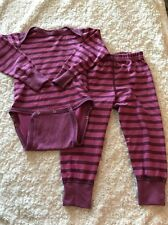 Patagonia Girls Pink Striped Outfit Long Sleeve One Piece Pants 2T