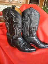 Men's Tony Lama Black Leather +Lizard Western Boots Size 8EE Style 8849