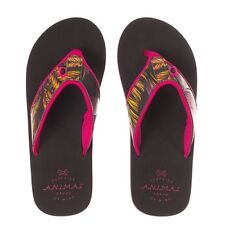 LADIES ANIMAL BLACK Swish Aop Flip-Flops IN SIZES 4,5,6,7 AND 8 RRP £15.00