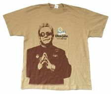 Elton John Ray Cooper 2010 Tour Hawaii South Africa Tan T Shirt New Official