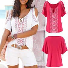 Women Casual Loose Short Sleeve Off Shoulder Round Neck T-Shirt Tops Shirts Tee